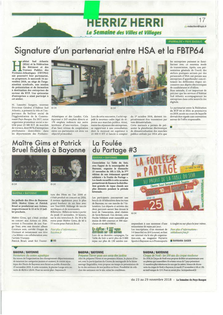 Semaine du Pays basque du 23 au 29 novembre 2018 : signature d'un partenariat entre HSA et le FBTP64